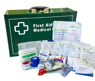 Large Industrial Burn's First Aid Kit METAL WALL MOUNT BOX