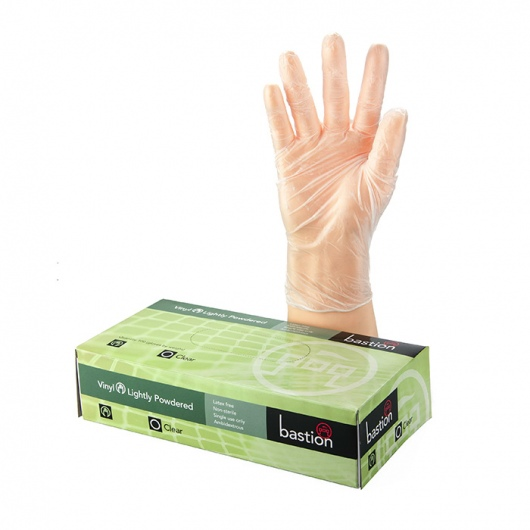 Bastion Vinyl Powdered Clear Gloves Small - UniPak