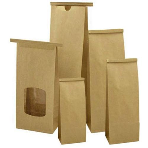 Tin Tie Bags 500gm 120x62x246mm Brown Paper with Window