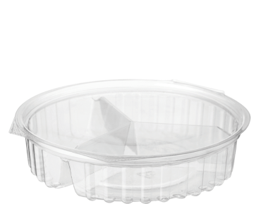 Eco-Smart' Clearview 3 Compartment Bowls 20 oz Hinged Flat Lid,  Clear - Castaway