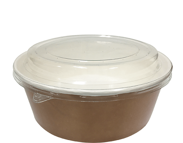 Multi-Food Pot & PET Lid Combo-Pak', 700 ml Brown kraft / Clear Lid