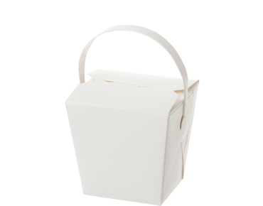 Paper Food Pail with Paper Handle 8oz Small, White - Castaway