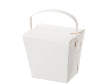 Paper Food Pail with Paper Handle 16oz Medium, White