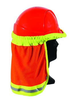 Good2Glow' Hi-Vis Hard Hat Elastic Sun Shield, Orange - Esko